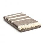 Wolldecke Beige mit 3 streifen in creme – Übergröße