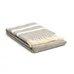 Wolldecke Grau – Streifen in creme – Übergröße