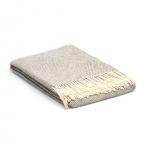 Wolldecke Grau – creme mit Diamantbindung –  Übergröße