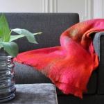 Wolldecke bunt kariert Rot Orange Grün